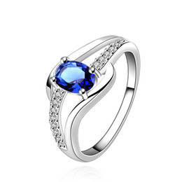 Wholesale Beautiful Girl Mix - Blue Gemstone Ring Austria Crystal Jewelry Luxury Inlaid Gemstone Zircon Ring Silver Plated Fashion Beautiful Romantic Gifts for Women Girls