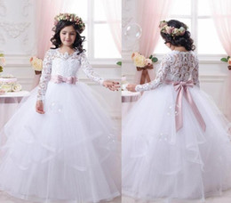 Wholesale Halloween Prom Dresses - Flower Girl Dresses for Weddings Lace Long Sleeve Girls Pageant Dresses First Communion Dress Little Girls Prom Ball Gown