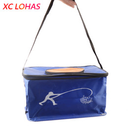 Wholesale Fish Tackle Boxes - Wholesale- 4 Sizes Big Folding Live Fish BOX Plastic Carp Fishing Bucket Water Tank With Handle Bags Fishing Tackle Accessories