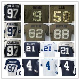 Wholesale Romo Football Jerseys - Men's 4 Dak Prescott 21 Ezekiel Elliott 9 Tony Romo 82 Jason Witten 88 Dez Bryant 97 Taco Charlton Elite American Football Jerseys