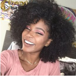 Wholesale Curly Hair Front Lace Price - Kinky curly human hair wigs glueless full lace wigs Peruvian Braided lace front wigs side parting natural hairline 150 density factory price