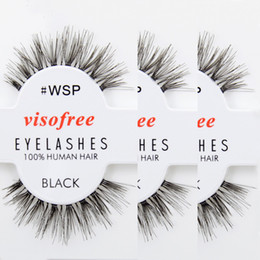 Wholesale Human Hair False Lashes - Wholesale- 12 pairs Eyelashes WSP Lashes 100% Human Hair Handmade False Eyelashes Messy Nature Eye Lashes maquiagem cilios by Visofree