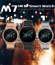 Wholesale Iphone Blood - Smart Watch Blood Pressure Heart Rate Monitor Smart Bracelet M7 Fitness Tracker Sports Wristband Band BT Wristwatch for Xiaomi Huawei iPhone