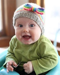 Wholesale Hand Made Hat Baby - Baby Girls Crochet Woolen Yarn Hats with Big Bows Kids Hand Made Knitting Warm Caps Earflap Autumn Winter Beanie Ear Warmer BH12