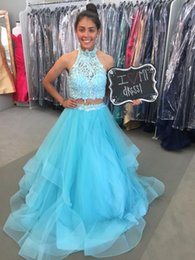 Wholesale Lace Bodice Special Occasion Dresses - Two Pieces Quinceanera Dresses 6765 Light Blue High Neck Lace Appliques Bodice With Ball Tulle Gown Special Occasion Dresses