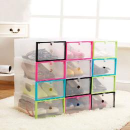 Wholesale Plastic Clothing Storage Bins - 2017 New Plastic Transparent Drawer Case Shoe Storage Organizer Stackable Box Storage Boxes & Bins free shipping