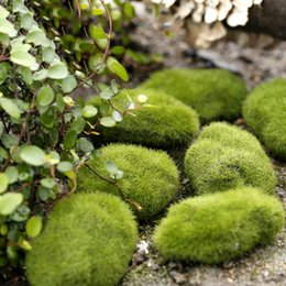 Wholesale Wholesale New Years Decor - 1pc Stone Moss Miniature Dollouse Garden Craft Fairy Bonsai Plant Decor Marimo Stone Artificial Moss Foam Stone Green Plant