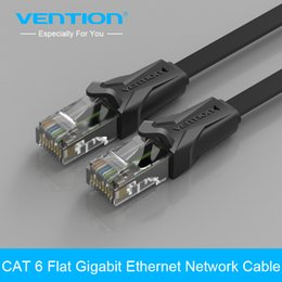 Wholesale Ethernet Patch 3m - Wholesale- Vention High Speed UTP CAT 6 Flat Gigabit Ethernet Network Cable RJ45 Patch LAN Cord 1m 2m 3m 5m 8m 10m for PC Laptop Router