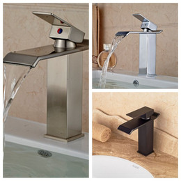 Wholesale Bathroom Waterfall Wall Spout - Wholesale- Wholesale And Retail Promotion Solid Brass Bathroom Basin Faucet Waterfall Spout Vanity Sink Mixer Tap Single Handle Hole