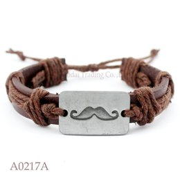 Wholesale Leather Jewelry Connectors - ANTIQUE Black Plated Moustache Connector Charm Adjustable Leather Cuff Bracelets Gifts Punk Casual Friendship Wristband Jewelry