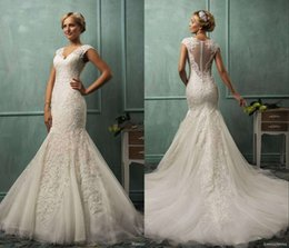 Wholesale Lace Neck Fit Flare - 2017 Amelia Sposa V Neck Cap Sleeve Mermaid Wedding Gowns Lace Tulle Appliqued Fit Flare Sheer Backless Plus Size Bridal Party Dresses