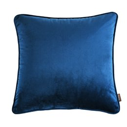Wholesale Italian Fabrics Wholesale - Elegant Square Pillow Cover Navy Color Italian velvet Cushion Cover Sofa Waist Pillow Case Bedding Sets
