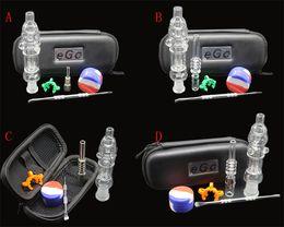 Wholesale Nail Cases - 1pcs mini Nectar Collector kit with titanium or quartz nail clip wax tool silicon jar ego zipper case glass water bongs smoking pipes