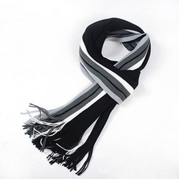 Wholesale Striped Cotton Scarves - Wholesale- Fashion Striped Cotton Scarf Mens Autumn and Winter Scarves Shawl Wrap Casual Warm Men Business Scarf Echarpe