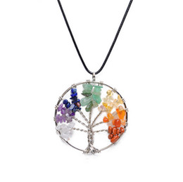 Wholesale Chip Tin - Women Rainbow 7 Chakra Amethyst Tree Of Life Quartz Chips Pendant Necklace Multicolor Wisdom Tree Natural Stone Necklace A021
