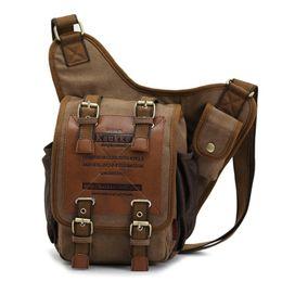 Wholesale Kaukko Canvas Bags - Wholesale- KAUKKO FH03 Men retro canvas travel shoulder bags vintage unique messenger bags man cross body bag Hot Selling