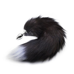 Wholesale Tails For Butt Plugs - RomeoNight Enchanting Naughty Black Fox Tail Soft Artificial Wool Metal Anal Sex Toys for Couple Flirting, Adult Butt Plug