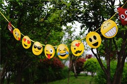 Wholesale room card - Flag Funny Emoji Theme Banner For Children Festival Party Articles Household Living Room Background Decor Supplies 4 9aw C R