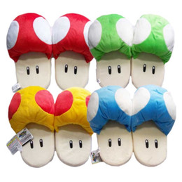 Wholesale Mushroom Slippers - Super Mario Brothers Mushroom 4 colors Plush Indoor Slippers For Adults Women Men Autumn Winter Home Slippers SA1503
