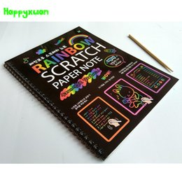 Wholesale Black Magic Paint - Happyxuan 5 books lot 2017 New 19*26cm Large Black Scratch Art Paper Notebook Magic Drawing Toys Scraping Painting Children