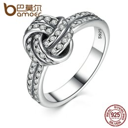 Wholesale Sterling Silver Knot - Wholesale- BAMOER Autumn Collection 925 Sterling Silver SPARKLING LOVE KNOT Weave Finger Ring For Women Engagement Fine Jewelry PA7190