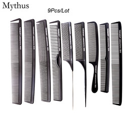 Wholesale Black Curly Hair Cuts - 9 pcs Comb Set Profeesional Hair Cutting Carbon Comb In Different Designs, Carbon Antistatic Comb Set For Salon CT-08