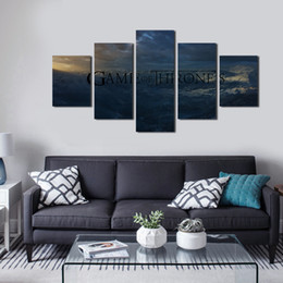 Wholesale Oil Painting Landscapes Dark - 5pcs set Unframed TV play Game of Thrones Dark Mountain HD Print On Canvas Wall Art Painting For Living Room Decor