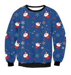 Wholesale Reindeer Christmas Sweater - Christmas Patton Sweater Santa Claus Cute Print Pullover Sweater Jumper Outwear Women's Patterns Of Reindeer Snowman Christmas ouc0361