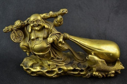 Wholesale Handwork Coins - Old Handwork Copper Carving Buddha Carry Sack Of Gold Coin Big Statue