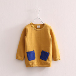 Wholesale Long Warm Sweaters For Kids - Wholesale- Fashion Top quality 3-10Years girls warm sweater Long Jacket for kids Winter Autumn Children's Sweatshirts 100% Cotton Moletons