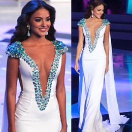 world dresses Promo Codes - Miss World 2019 Beauty Queen Pageant Evening Gowns White Sheath Satin Beading Cap Sleeves Plunging V-Neck Prom Gowns Formal Occasion Dresses