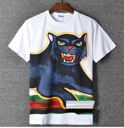 Wholesale Graffiti Shirt White - Europe America fashion new Men Women's T-shirts graffiti panther printing Men and women Round collar short sleeves T-shirt