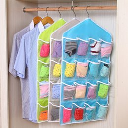 Wholesale Clothing Rack Wholesale - Wholesale- 16 Pockets Hanging Bag High Quality Durable Clear Door Hanging Bag Shoe Rack Hanger Practical Storage Tidy Organizer