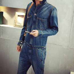 Wholesale Hot Short Denim Overalls Sale - Wholesale-2016 Hot Sale High Quality Men's full sleeve denim overalls Casual long length jeans Jumpsuits MB16279