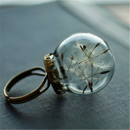 Wholesale Good Wishes - 12pcs Real dandelion ring jewelry , good luck ring , dandelion wish , mini jewelry