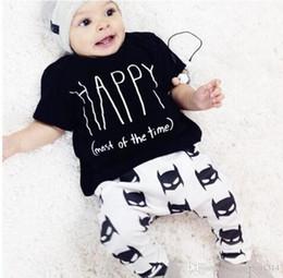 Wholesale Boys Bat Shirts - ins Toddler Baby Clothes Sets Newborn Boys Cotton Bat Pants Summer HAPPY Letter Printed T Shirt Outfits Set