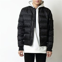 Wholesale Puffer Ski Jackets - Winter Puffer Jacket For Men Classic MA-1 Bomber Jackets Long Sleeve Zip-Up Quilted Parka Coat Skiing Skate Overcoat OSG0804