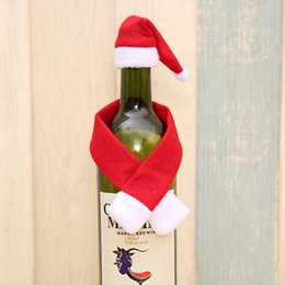 Wholesale Fun Christmas Hats - Fun Merry Christmas Ornament Gifts Festival Glass Hat Scarf Red Wine Bottle Cover Decoration Event Party Supplies Xmas Gift