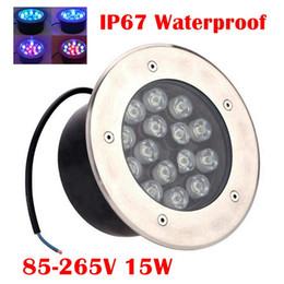 Wholesale Floor Lamp 15w - Edison2011 15W DC 12V LED Underground Light RGB IP67 Waterproof AC 85-265V Buried Recessed Floor Mini Outdoor Lamp Desk Light Free Shipping