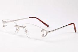herren-silber-metall-brillenfassungen Rabatt 2017 retro marke designer sonnenbrille randlose klare gläser neue ankunft herren brillen gold silber metallrahmen büffel horn gläser mit cas