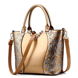 Wholesale Small Sequin Tote - New 2017 Europe fashion women bag sequin embroidery Luxury patent leather famous brands designer handbag women messenger bags