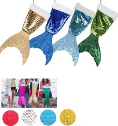 Wholesale Double Tail - Mermaid Tail double Sequin Christmas Stocking for girl magic christmas decor