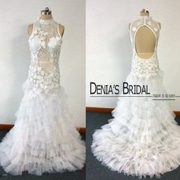 Wholesale Sexy Hollow Slim Lace Dress - Sexy Wedding Gowns Cymbeline Slim A Line High Neck with Keyhole Back Lace Tulle Tiered Real Images Bridal Wedding Dresses