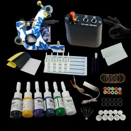 Wholesale Tattoo Ink Starter Kit - Tattoo Kit Machine Set Coil Gun Colors Inks Mini Power Supply Starter Tattoo Kits Permanent Makeup Tattoo Kit Cheap