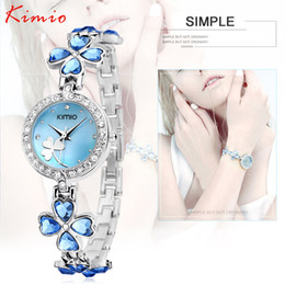 Wholesale Kimio Brand For Watch - Wholesale- Luxury Brand Kimio Bracelet Watch Stainless Steel Women Crystal Watch Elegant Star Crystal Diamond Watch for Lady Clover