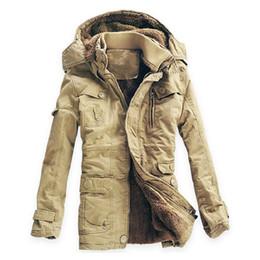 Wholesale Men Snow Coats - Wholesale- New Mens Long 100% Cotton Thickhen Winter Snow Warm Coat,Hooded Faux Fur Parkas,4 Colors,Size M-5XL,AW1302,Free Ship