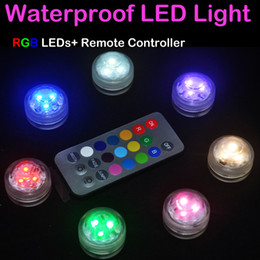 Wholesale Batteries Led Aquarium - RGB LED Aquarium Diving Light With Remote Control Battery Operation Waterproof Circular Electronic Candle Lights Fish Tank Lamp