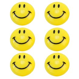 Wholesale Smiley Faces Stickers - 6pcs Round Cartoon Emoji Smile Smiley Face Fridge Magnets Refrigerator Magnetic Sticker Home Decoration Toys 3cm Dia New