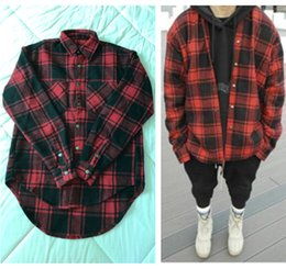 Wholesale Women Xl Flannel Shirt - Autumn winter thick Flannel long sleeve Plaid shirt men and women circarc oversize sweep plaid low-high FOGD Quality Shirt Man US SIZE