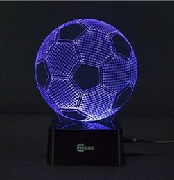Cheap Novelty Home Decor Seven Colors Changing Soccer Ball Light Football 3d Visual Led Night
